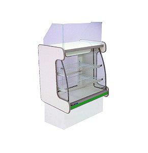 Balcao Caixa Vidro Semi Curvo Pop Luxo Polofrio Branco e Verde 80 Cm