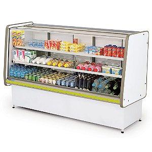 Balcao Refrigerado Vidro Reto com Pista Dupla Pop Luxo Polofrio Branco e Amarelo  1,80 M 220 V