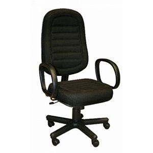 Cadeira Presidente em Tecido Gomado com Base Preta e Braco Corsa Solid Preto