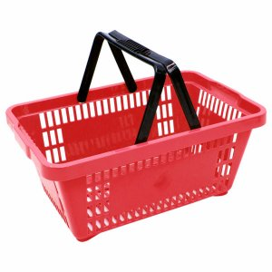 Cesta Plastica para Mercearia com Alca Della Plast Vermelho
