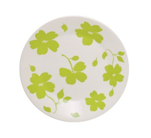 Prato de Porcelana Decorado De Sobremesa Jasmim Primavera Actual Biona Oxford Verde 19 Cm
