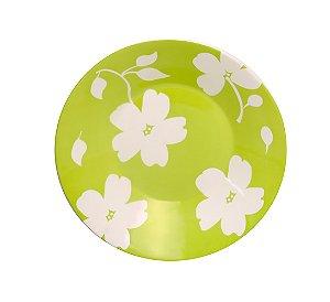 Prato de Porcelana Decorado Fundo Jasmim Primavera Actual Biona Oxford Verde 22 Cm