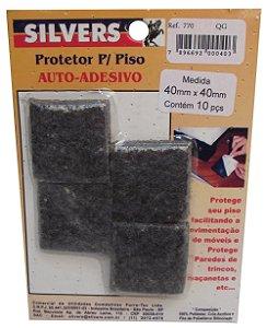 Protetor para Piso Quadrado Preto Auto-adesivo 4x4cm Silver's Preto