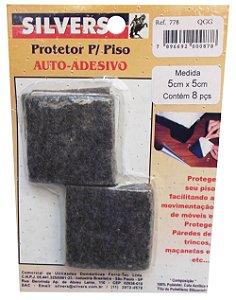 Protetor para Piso Quadrado Preto Auto-adesivo 5x5cm Silver's Preto