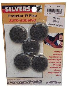 Protetor para Piso Redondo Preto Auto-adesivo 3,6cm Silver's Preto 3,6 Cm