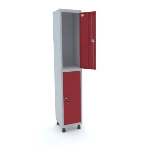 Roupeiro de Aco 1 Vao 2 Portas com Fechadura Pandin Cinza e Vermelho  1,90 M