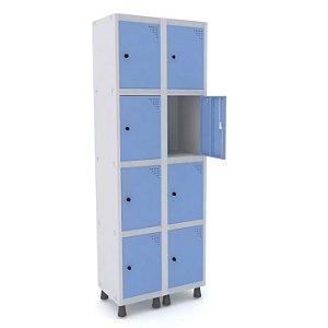 Roupeiro de Aco 2 Vaos 8 Portas com Pitao Pandin Cinza e Azul Dali  1,90 M