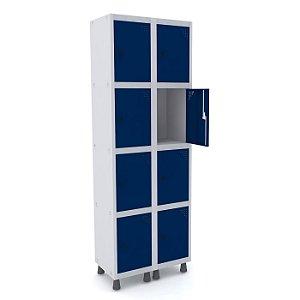 Roupeiro de Aco 2 Vaos 8 Portas com Pitao Pandin Cinza e Azul Del Rey  1,90 M