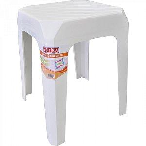 Banqueta Plastica Multiuso Astra Branco 40 Cm