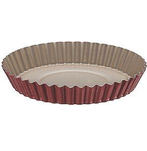 Forma Redonda Crespa para Bolo e Torta com Revestimento Antiaderente Brasil Tramontina Vermelho 24 Cm