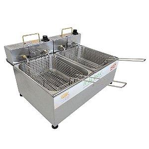 Fritador Eletrico com 2 Cubas Linha Economica Ital Inox 20 Cm, 53 Cm, 33 Cm 10 Lt 220 V