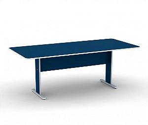 Mesa para Escritorio de Reuniao Retangular Maxxi Pandin Azul e Cinza  2,00 M