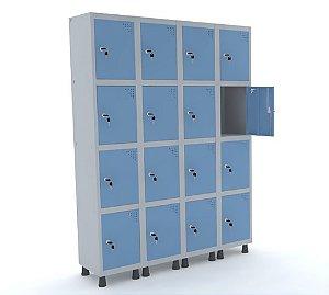 Roupeiro de Aco 4 Vaos 16 Portas com Fechadura Pandin Cinza e Azul Dali  1,90 M