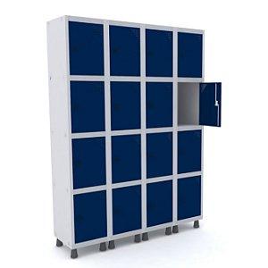 Roupeiro de Aco 4 Vaos 16 Portas com Pitao Pandin Cinza e Azul Del Rey  1,90 M