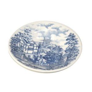 Prato de Porcelana Fundo Decorado Cena Inglesa Biona Oxford 22 Cm