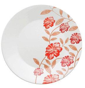 Prato de Porcelana De Sobremesa Decorado Amor Biona Oxford Vermelho 19 Cm
