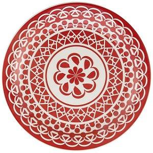 Prato de Porcelana Fundo Decorado Renda Biona Oxford Vermelho 23 Cm