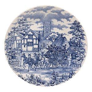 Prato de Porcelana Raso Decorado Cena Inglesa Biona Oxford 26 Cm