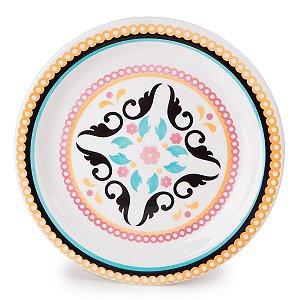Prato de Porcelana De Sobremesa Decorado Luiza Biona Oxford 20 Cm
