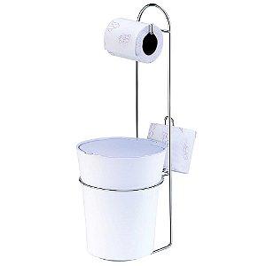 Porta Papel Higienico de Chao com Lixeira Arthi  Branco