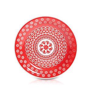 Prato de Porcelana Raso Decorado Renda Biona Oxford Vermelho 26 Cm