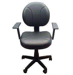 Cadeira Executiva Giratoria em Corino e Braco Regulavel Plaxmetal Preto