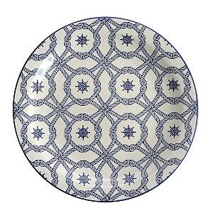 Prato de Porcelana Raso Decorado Nautico Biona Oxford 26 Cm