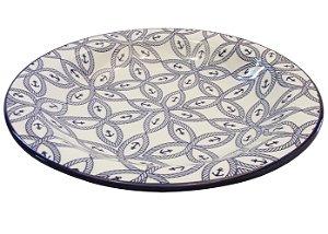 Prato de Porcelana Fundo Decorado Nautico Biona Oxford 23 Cm
