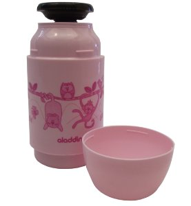 Garrafa Termica Soft Corujas Suprema Kids Aladdin Rosa  250 Ml