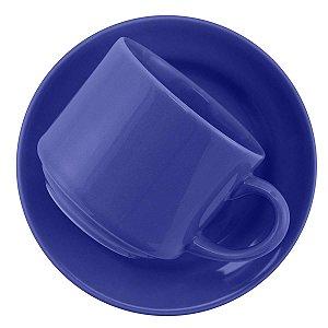 Xicara de Louca para Cha com Pires Donna Azul Biona Oxford 200 Ml