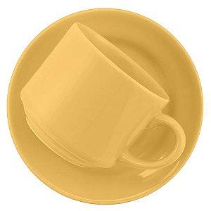 Xicara de Louca para Cha com Pires Donna Biona Oxford Amarelo  200 Ml