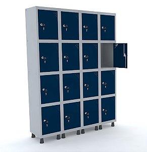 Roupeiro de Aco 4 Vaos 16 Portas com Fechadura Pandin Cinza e Azul Del Rey  1,90 M