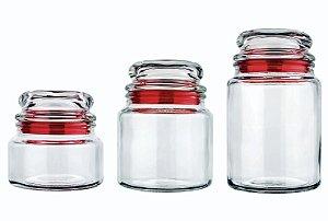 Conjunto de Potes De Vidro com 3 Unidades Euro  Vermelho