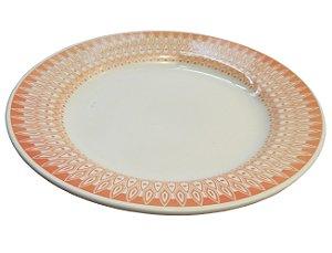 Prato de Porcelana Raso Decorado Donna Aurora Biona Oxford 24 Cm