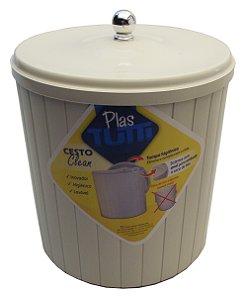 Cesto Plastico com Tampa Clean Plastutti Branco  05 Lt