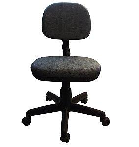 Cadeira Secretaria Giratoria em Tecido com Base Preta Plaxmetal Cinza e Preto