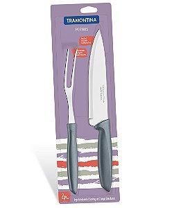 Conjunto Trinchante com 2 Pecas Plenus Tramontina Cinza