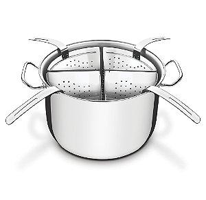 Cozi-pasta em Aco Inox com 4 Recipientes  Professional Tramontina 30 Cm 13.5 Lt