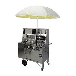 Carrinho de Hot Dog e Lanche com Chapa prensa E Caixa Termica em Inox R2