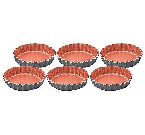 Conjunto de Formas para Tortinhas Aluminio Antiaderente 6 Pecas Bakery Tramontina