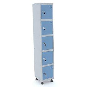 Roupeiro de Aco 1 Vao 5 Portas com Fechadura Pandin Cinza e Azul Dali  1,90 M