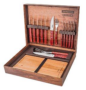 Kit para Churrasco com 15 Pecas e Estojo Polywood Tramontina Vermelho