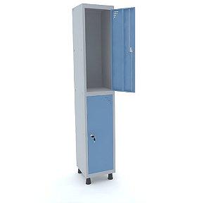 Roupeiro de Aco 1 Vao 2 Portas com Fechadura Pandin Cinza e Azul Dali  1,90 M