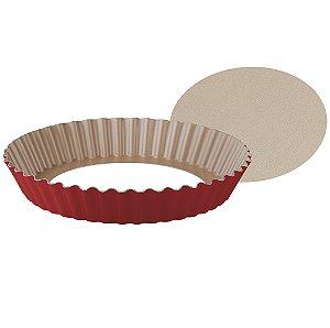Forma Redonda Crespa com Fundo Removivel para Bolo e Torta E Revestimento Interno Antiaderente Brasi 24 Cm