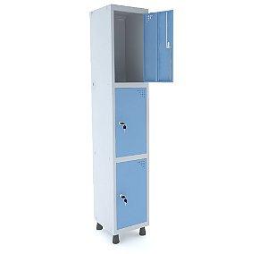 Roupeiro de Aco 1 Vao 3 Portas com Fechadura Pandin Cinza e Azul Dali  1,90 M
