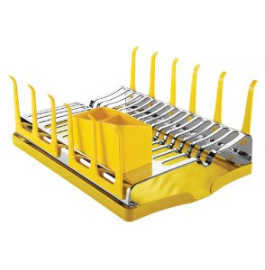 Escorredor em Aco Inox com Bandeja para Loucas Plurale Tramontina Amarelo