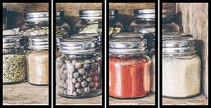 Quadro Mosaico 4 Partes Reto Temperos em Porta Condimentos Art e Cia Preto