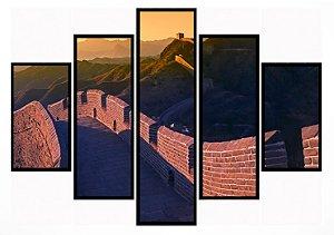 Quadro Mosaico 5 Partes  Muralha Da China Moldura Preta Art e Cia