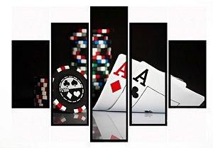 Quadro Mosaico 5 Partes Baralho Poker Moldura Preta Art e Cia