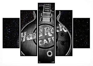 Quadro Mosaico 5 Partes Hard Rock Cafe Moldura Preta Art e Cia